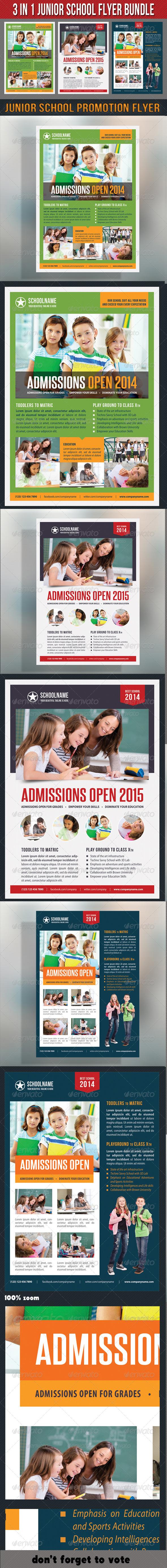 GraphicRiver 3 in 1 Junior School Promotion Flyer Bundle 03 7184993