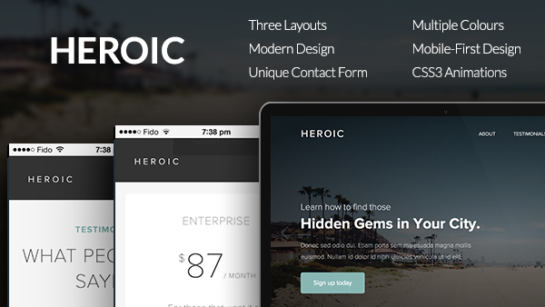 Heroic - Creative + Modern One Page HTML Template