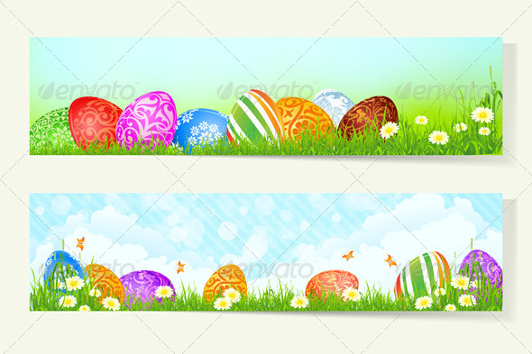 GraphicRiver Set of Easter Cards with Decorated Eggs 7185542