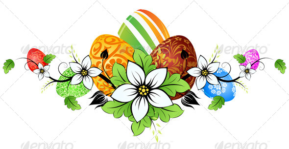GraphicRiver Easter Eggs with Flowers 7185543