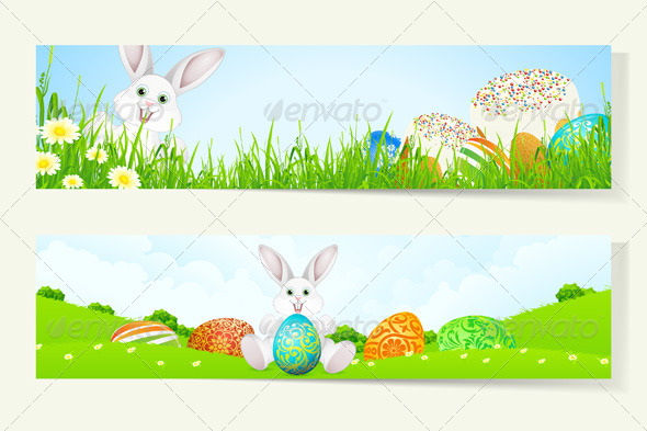 GraphicRiver Set of Easter Banners with Decorated Eggs 7185546