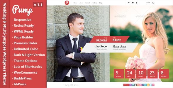 Pump is a Wedding Event & Multi-purpose Wordpress Theme. It's super simple. It has a responsive design meaning your content will be displayed beautifu