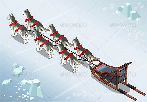 GraphicRiver Isometric Sled Dogs in Rear View on Ice 7185683