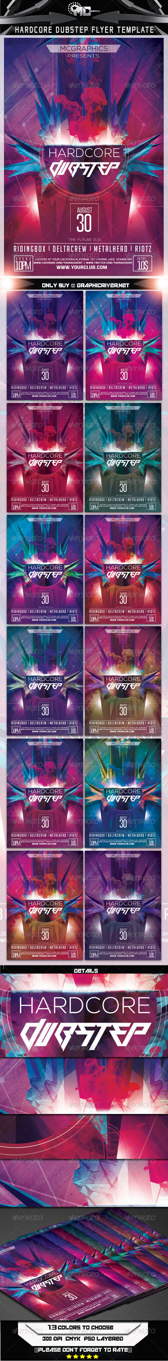 GraphicRiver Hardcore Dubstep Flyer Template 7103916