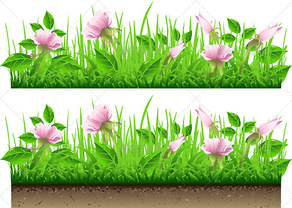 GraphicRiver Grass Border with Flowers 7185843