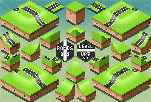 GraphicRiver Isometric Roads on Two Levels Terrain 7186407