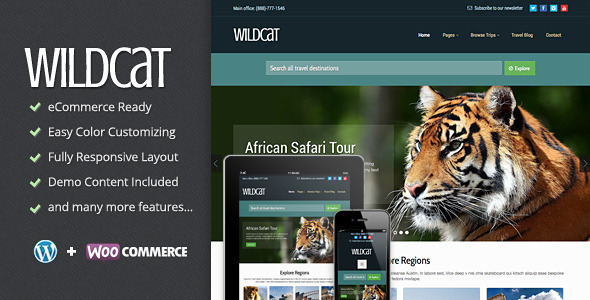 ThemeForest Wildcat Travel & Booking WordPress Theme 7186512