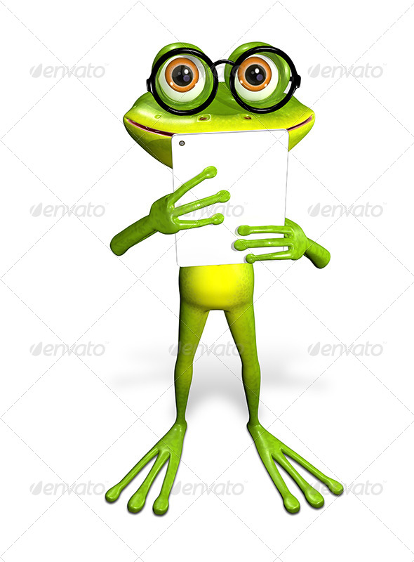 GraphicRiver frog with a tablet 7186752