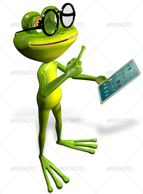 GraphicRiver frog with a tablet 7186783