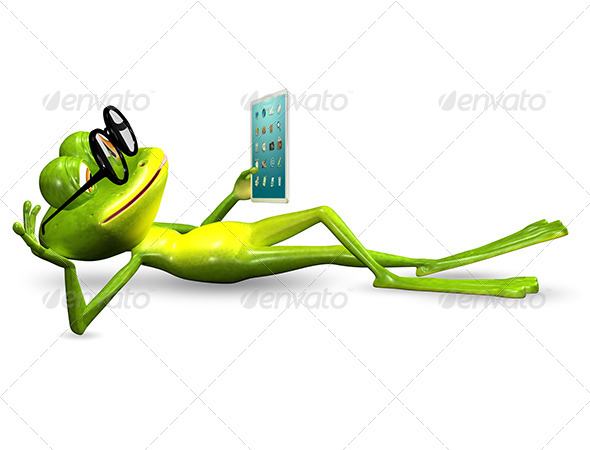GraphicRiver frog with a tablet 7186794