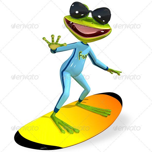 GraphicRiver Green Frog on a Surfboard 7186846