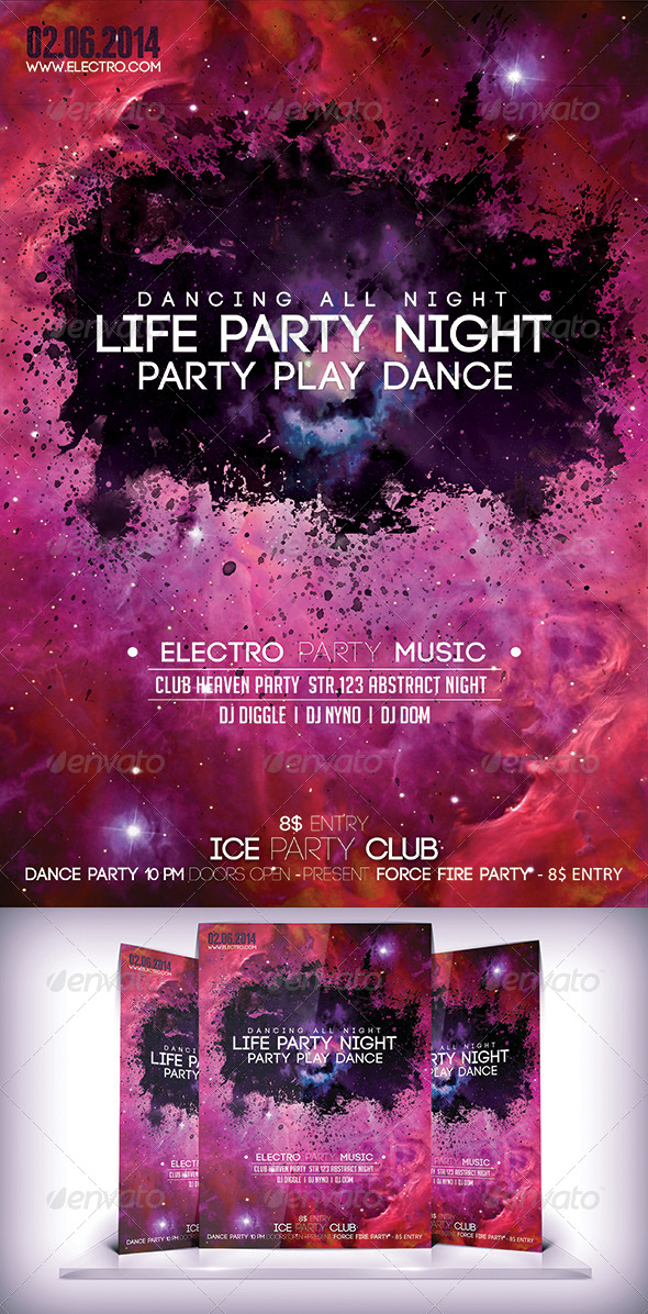 GraphicRiver Life Party Night Fyer 7187018