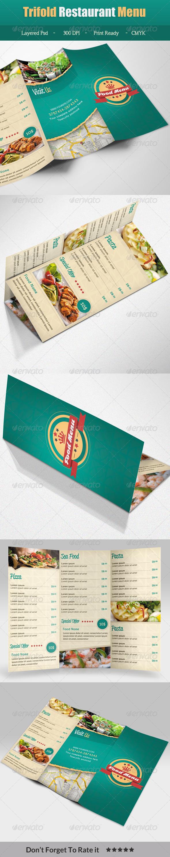 GraphicRiver Trifold Restaurant Menu 7187701