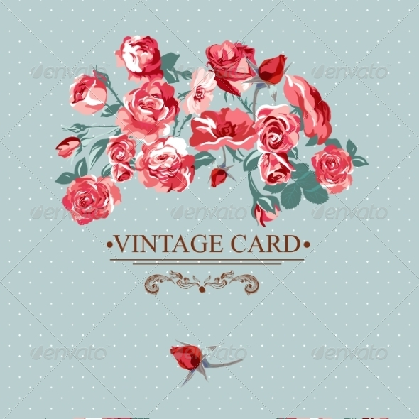 GraphicRiver Vintage Floral Lace Background with Roses 7188252