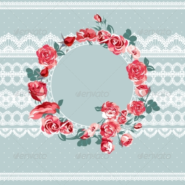 GraphicRiver Vintage Floral Lace Background with Roses 7188262