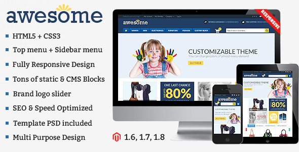 ThemeForest Awesome Responsive Multipurpose Magento Theme 7112986