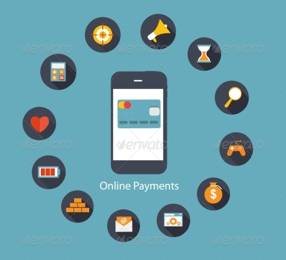 GraphicRiver Online Payments Flat Concept Vector Illustration 7189679