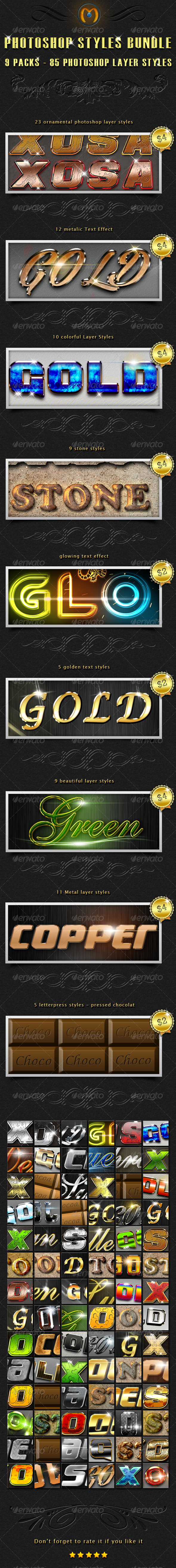 GraphicRiver 85 Photoshop Styles Bundle 2 7150276