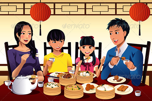 GraphicRiver Chinese Family Eating Dim Sum 7159725