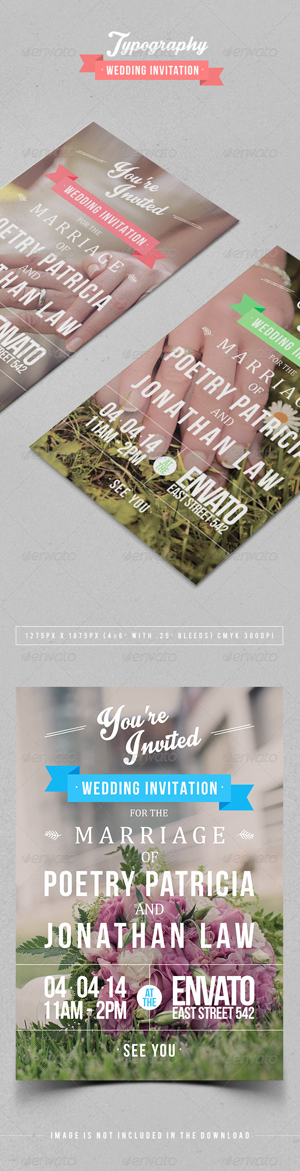 GraphicRiver Typography Wedding Invitation 7104631