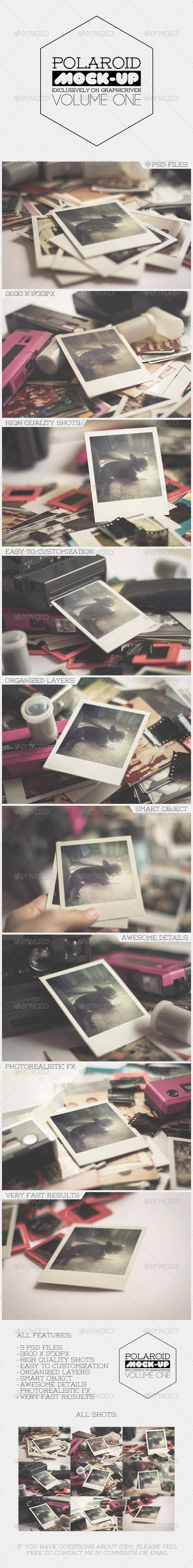GraphicRiver Old Polaroid Photo Frame Mock-Up Vol.1 7190847
