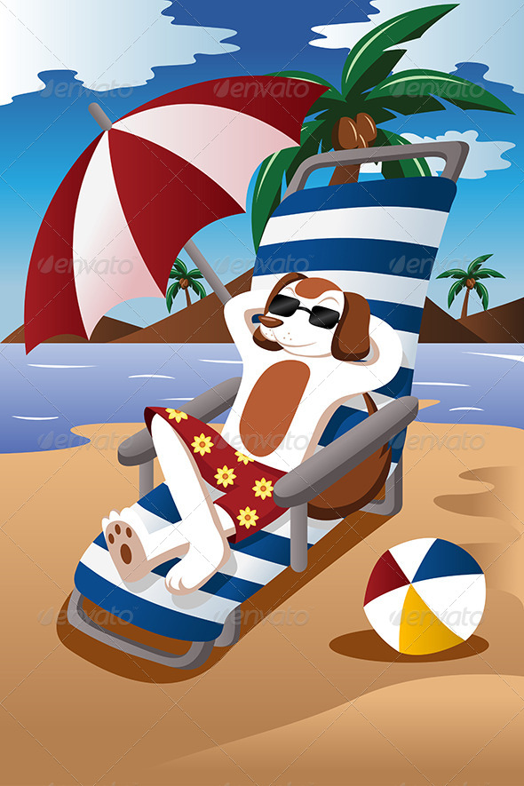 GraphicRiver Dog at the Beach 7191215