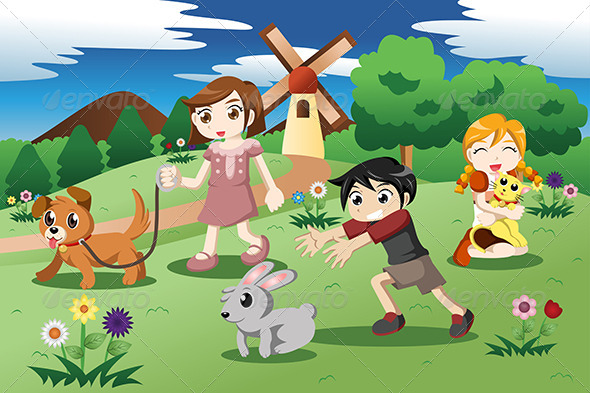 GraphicRiver Little Kids with Pets in the Garden 7191241