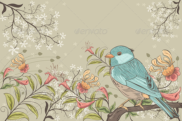 GraphicRiver Flowers and Bird 7191242