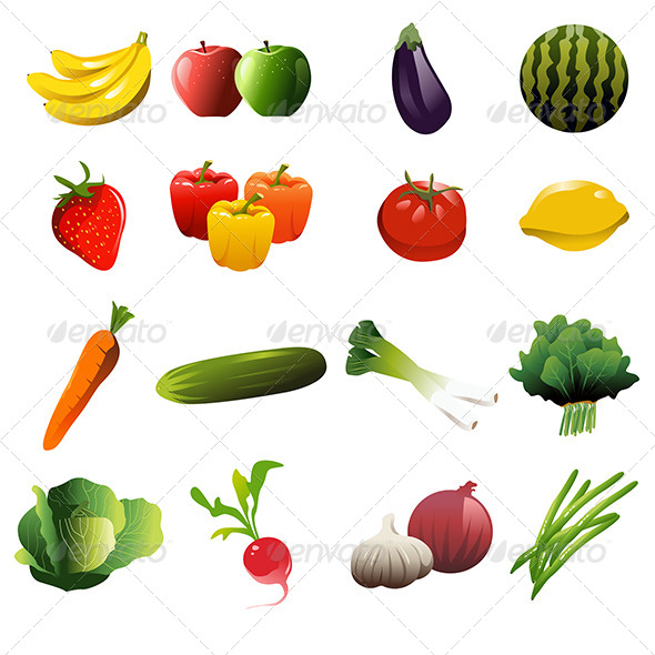 GraphicRiver Fruit and Vegetable Icons 7191263