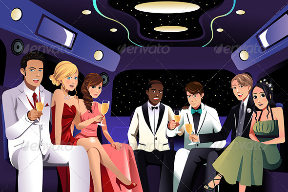GraphicRiver Teenagers Going to a Prom Party in a Limousine 7191266