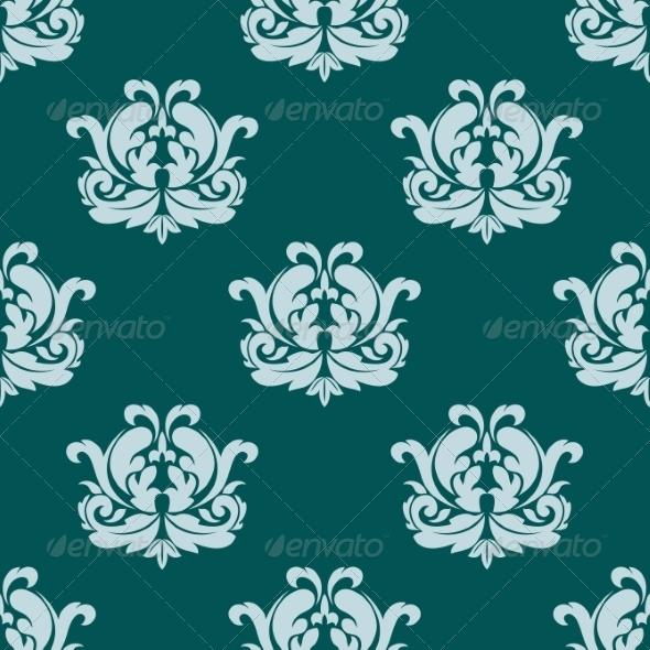 Seamless Damask Style Pattern in Blue