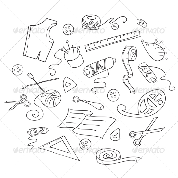 GraphicRiver Sketch of Sewing Tools 7191288