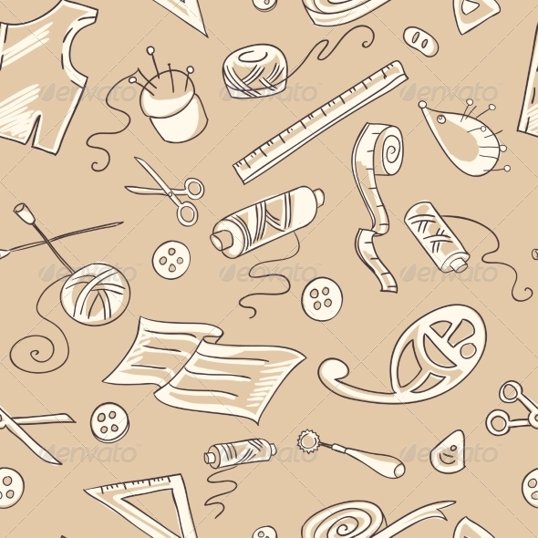 GraphicRiver Seamless Background with Sewing Tools 7191289