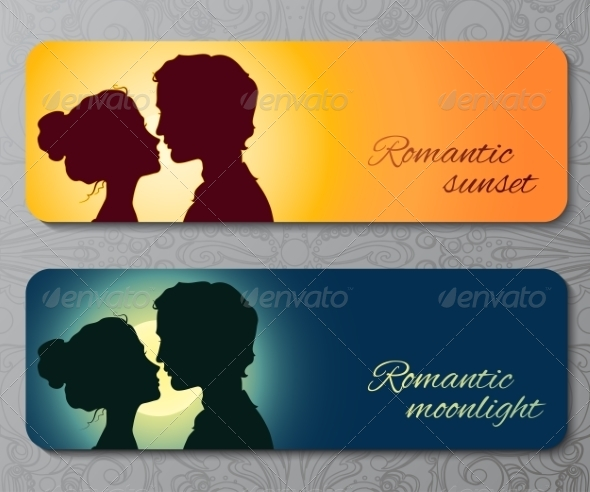 GraphicRiver Banners with Silhouettes of Kissing Couple 7191390
