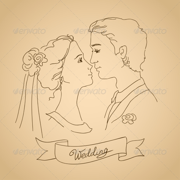 GraphicRiver Sketch of Bride and Groom 7191392
