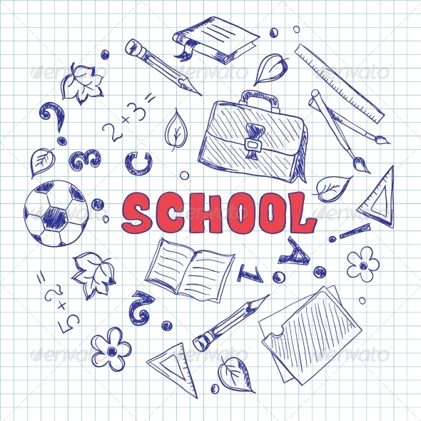 GraphicRiver Sketch of School Elements on a Squared Paper 7191418