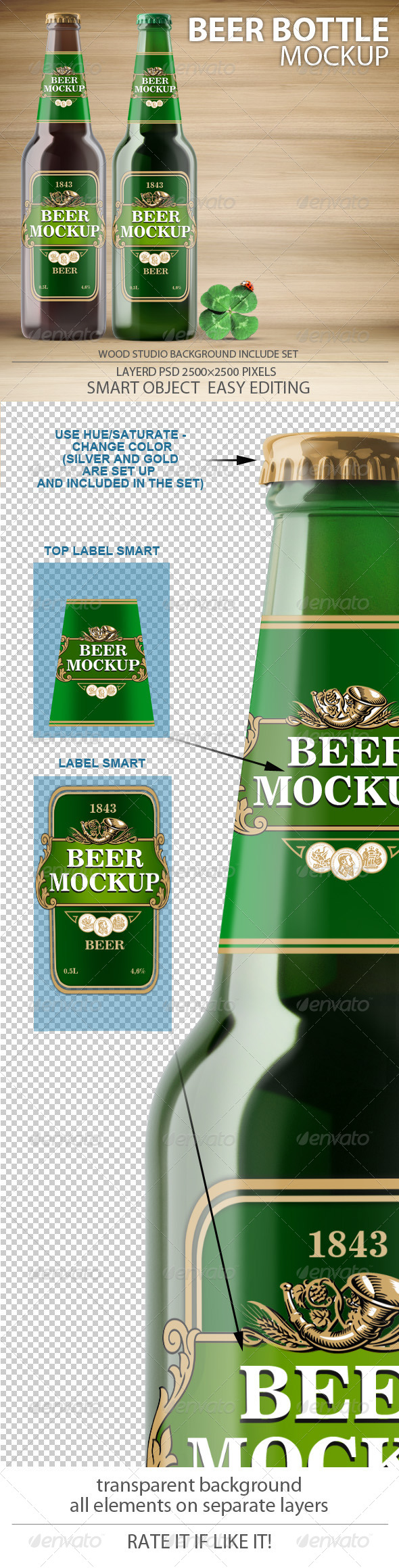 GraphicRiver Beer Bottles mock-up 7191716