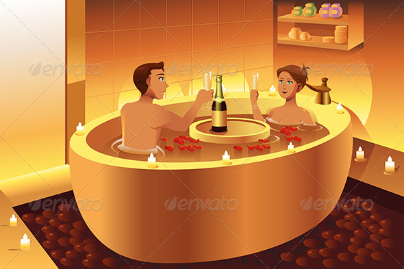 Couple Enjoying a Romantic Bath