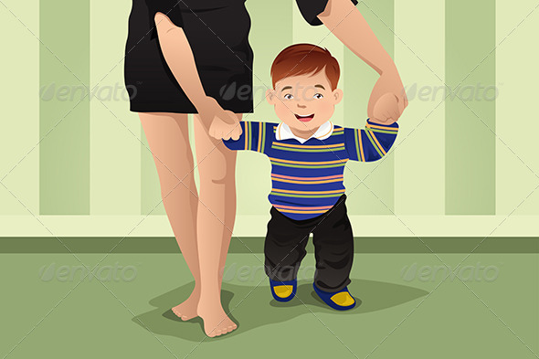 GraphicRiver Mother Helping Her Baby Boy Learn to Walk 7191882
