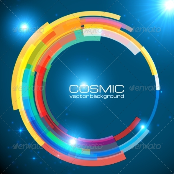 GraphicRiver Abstract Cosmic Shining Colorful Circle Frame 7191892