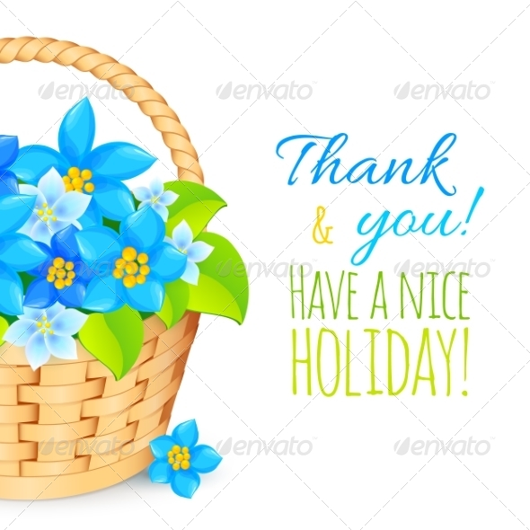 GraphicRiver Basket with Blue Flowers Greeting Card Template 7191911