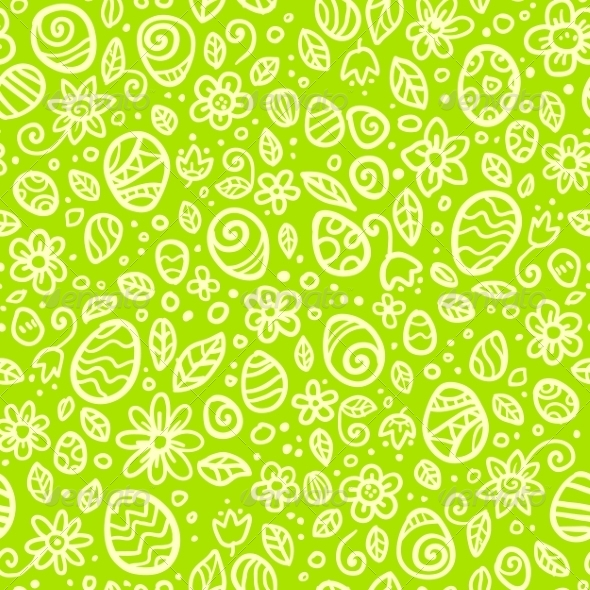 Green Easter Doodles Seamless Pattern