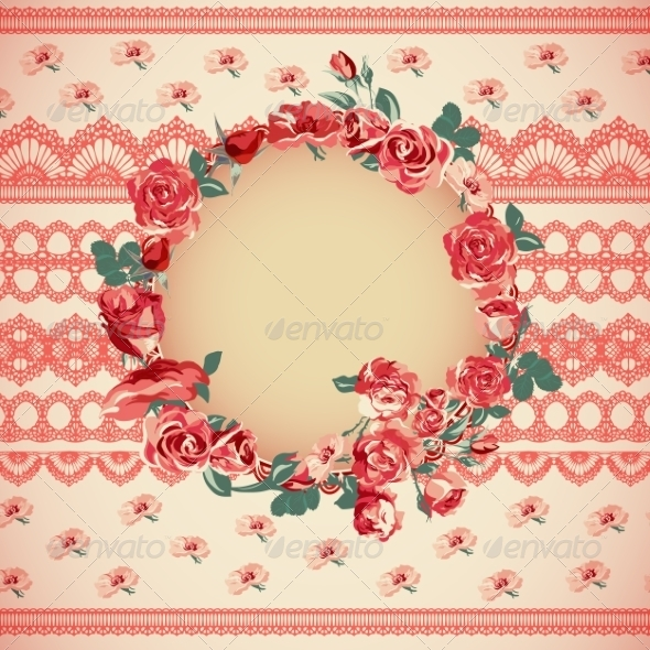 GraphicRiver Vintage Floral Lace Background with Roses 7192155