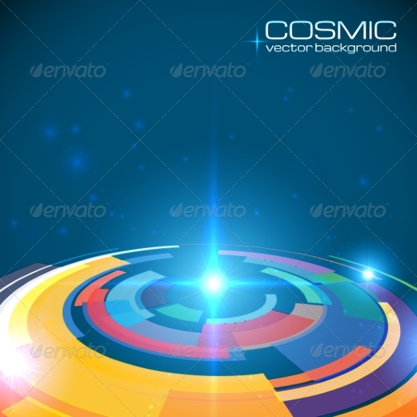 GraphicRiver Cosmic Colorful Shining Disc Abstract Background 7192202