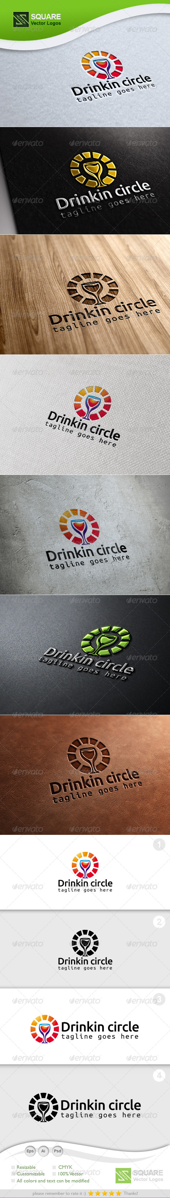 Drink, Circle Vector Logo Template - Food Logo Templates
