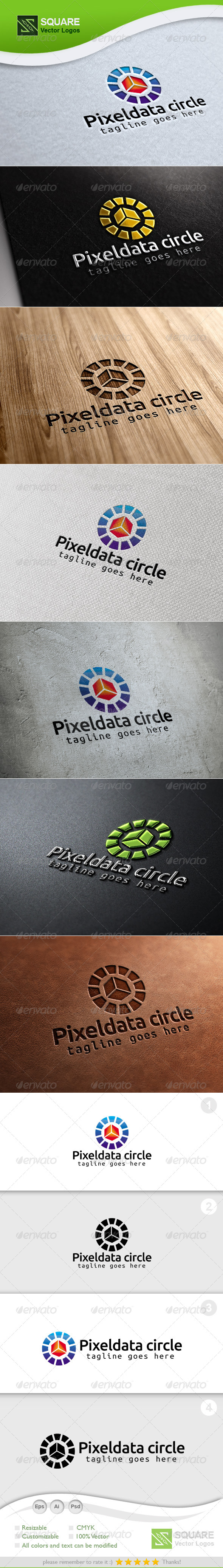 Pixel Circle Vector Logo Template