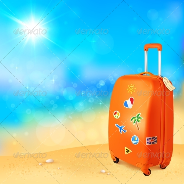 GraphicRiver Luggage with Traveling Stickers at Sunny Beach 7192317