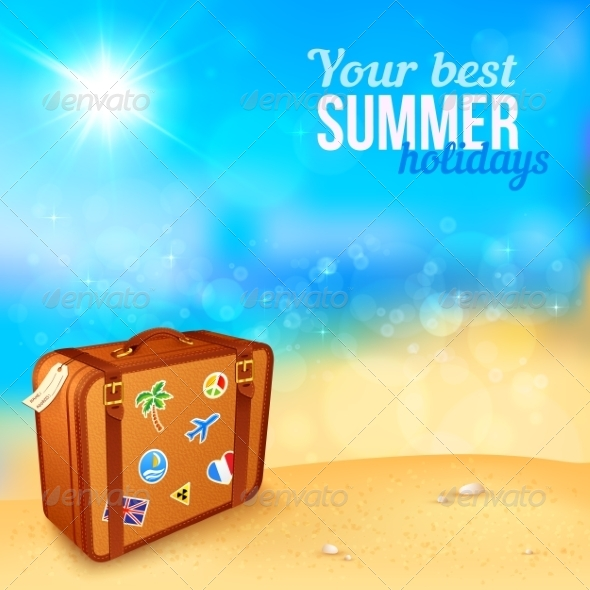 GraphicRiver Luggage with Traveling Stickers at Sunny Beach 7192364