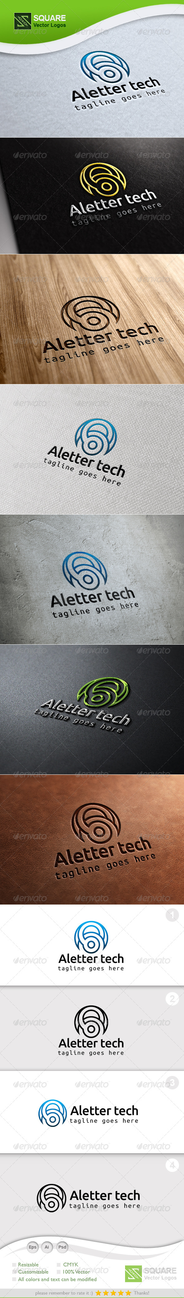 A, Technology Vector Logo Template - Letters Logo Templates