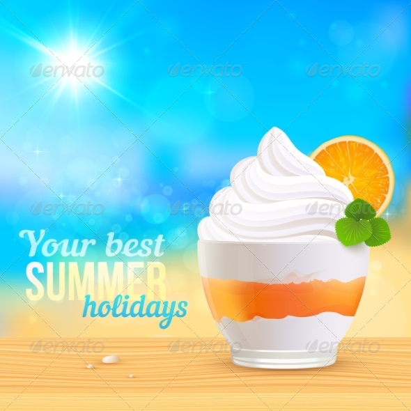 GraphicRiver Summer Creamy Dessert on Sunny Beach 7192455